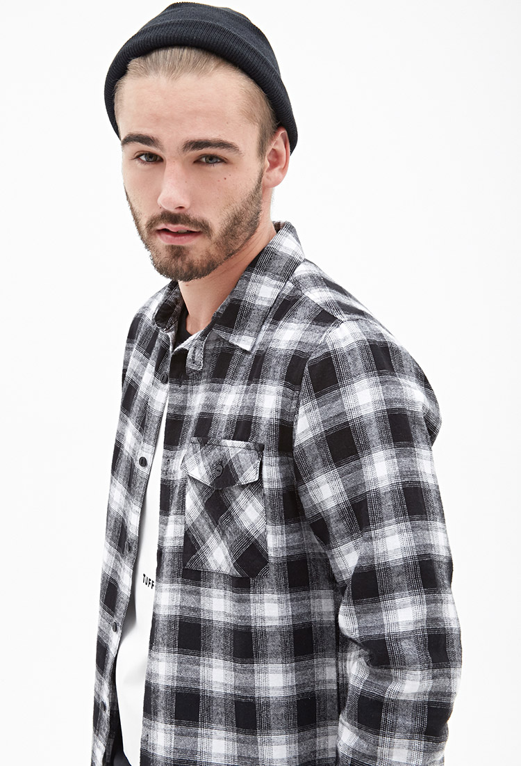 Lyst forever 21 blurred plaid flannel shirt in black for men for White flannel shirt mens