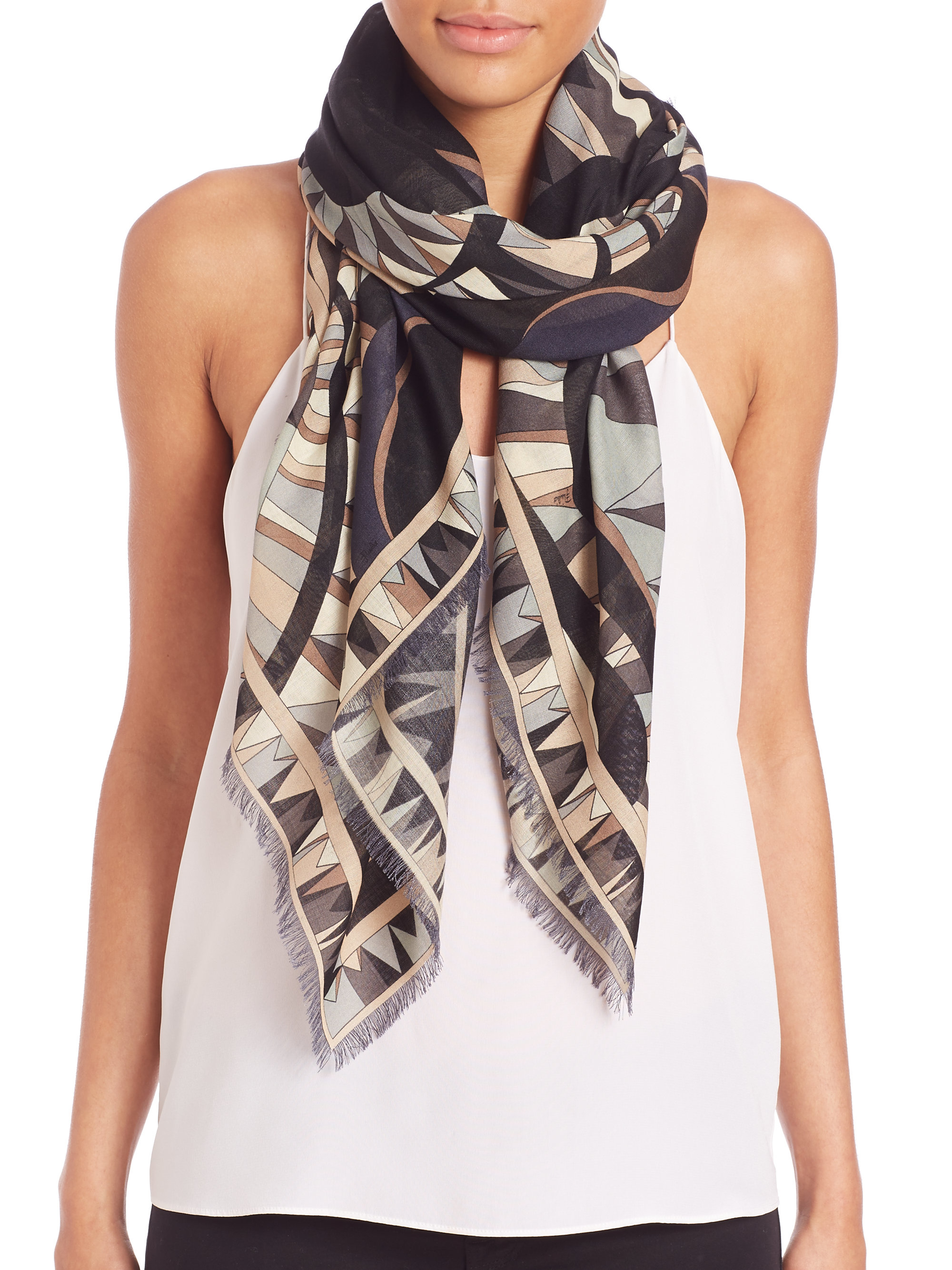 Emilio Pucci printed cashmere scarf Discount Perfect In China Sale Online Buy Cheap How Much Footlocker Sale Online ByOJ2035