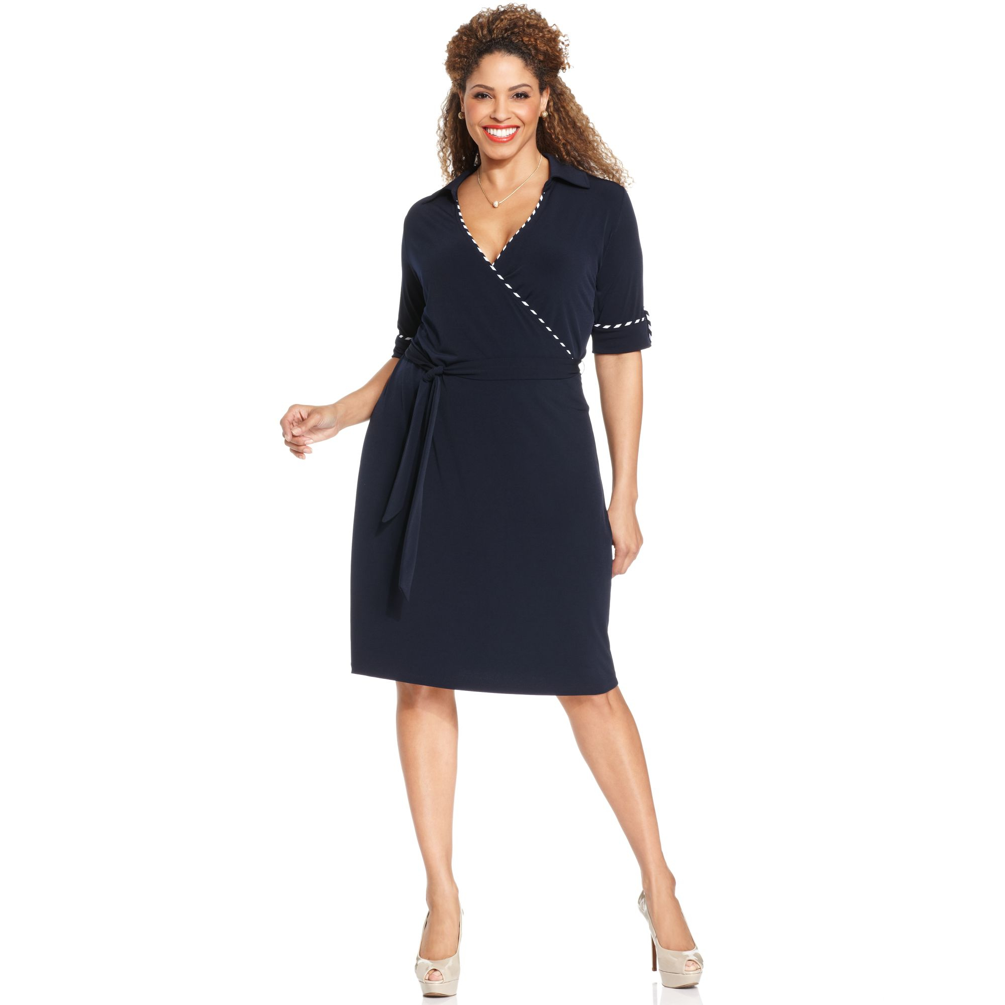 Jones New York Collection Plus Size Elbowsleeve Fauxwrap