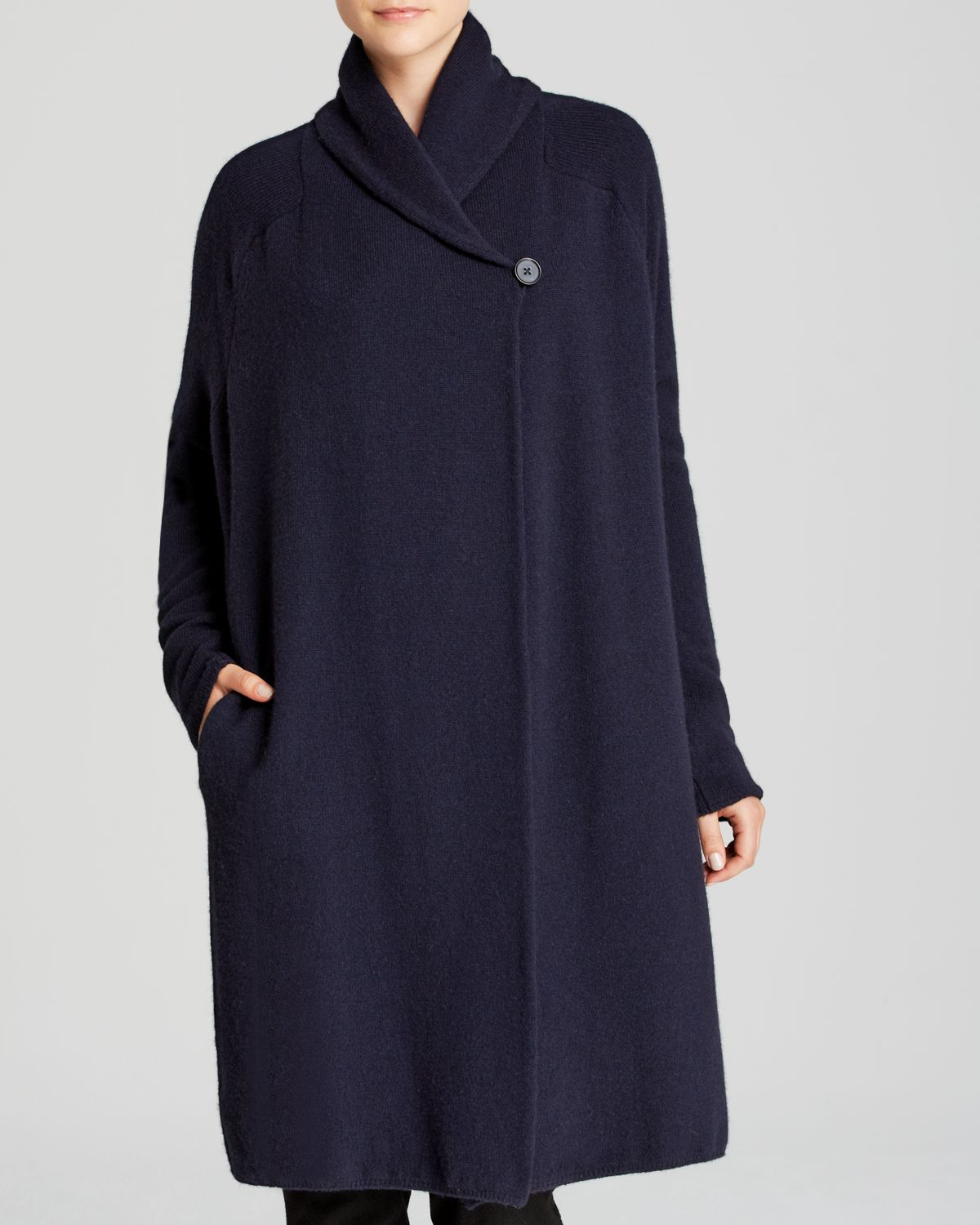 Vince Sweater Coat Wrap Wool in Blue | Lyst