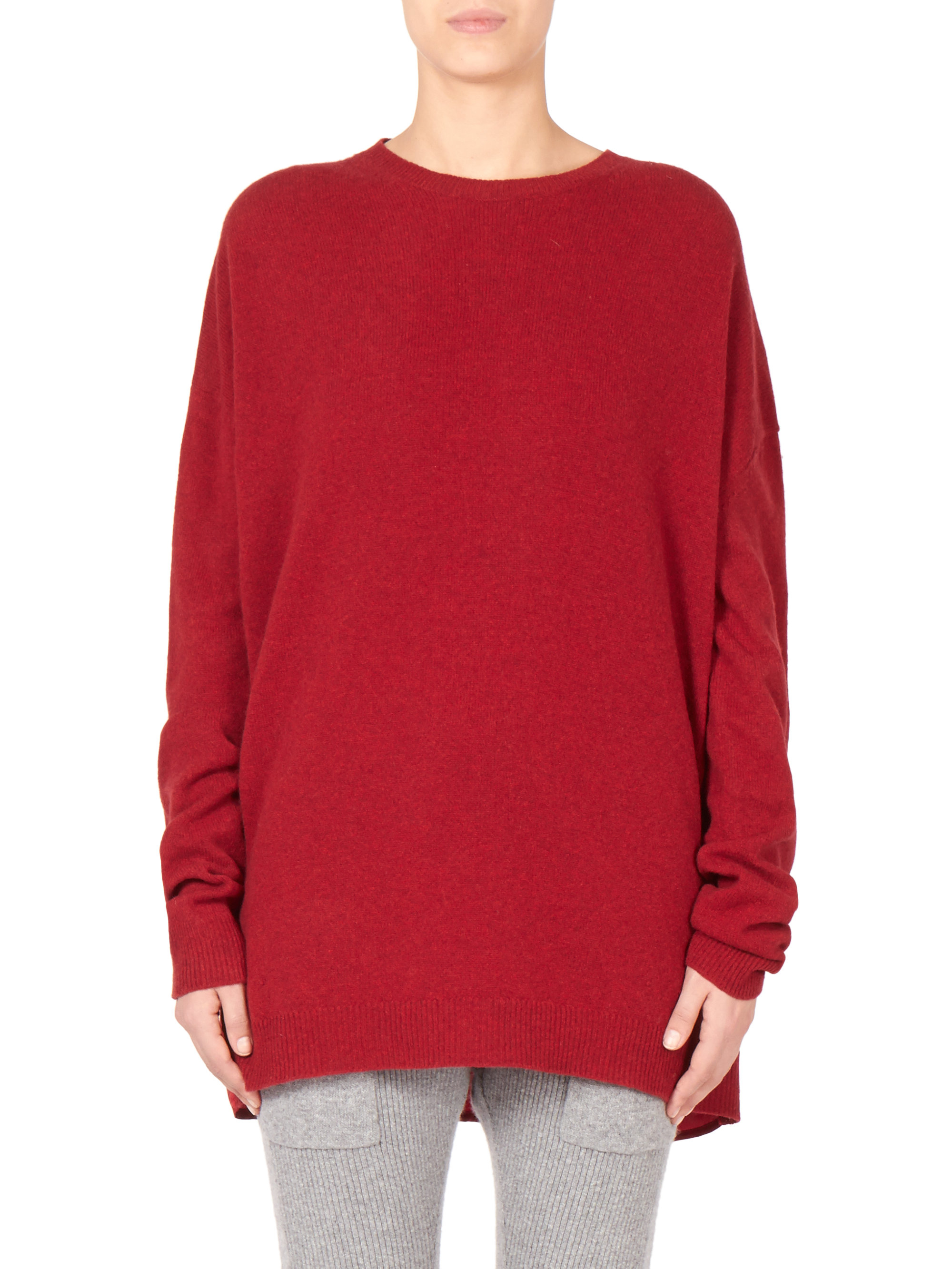 lyst haider ackermann oversized combo sweater in red
