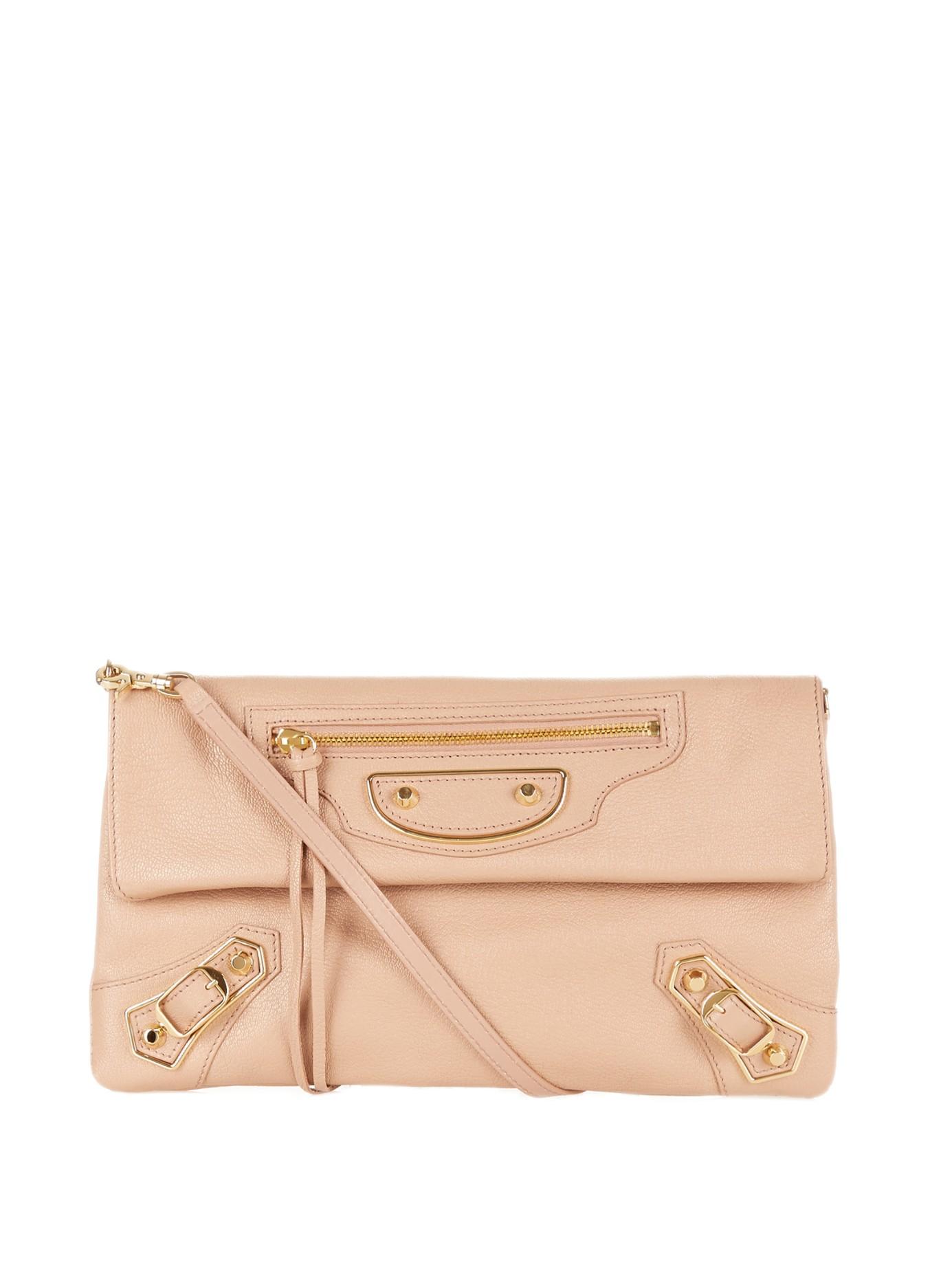 48873a069a Balenciaga Classic Metallic-edge Leather Envelope Clutch in Pink - Lyst