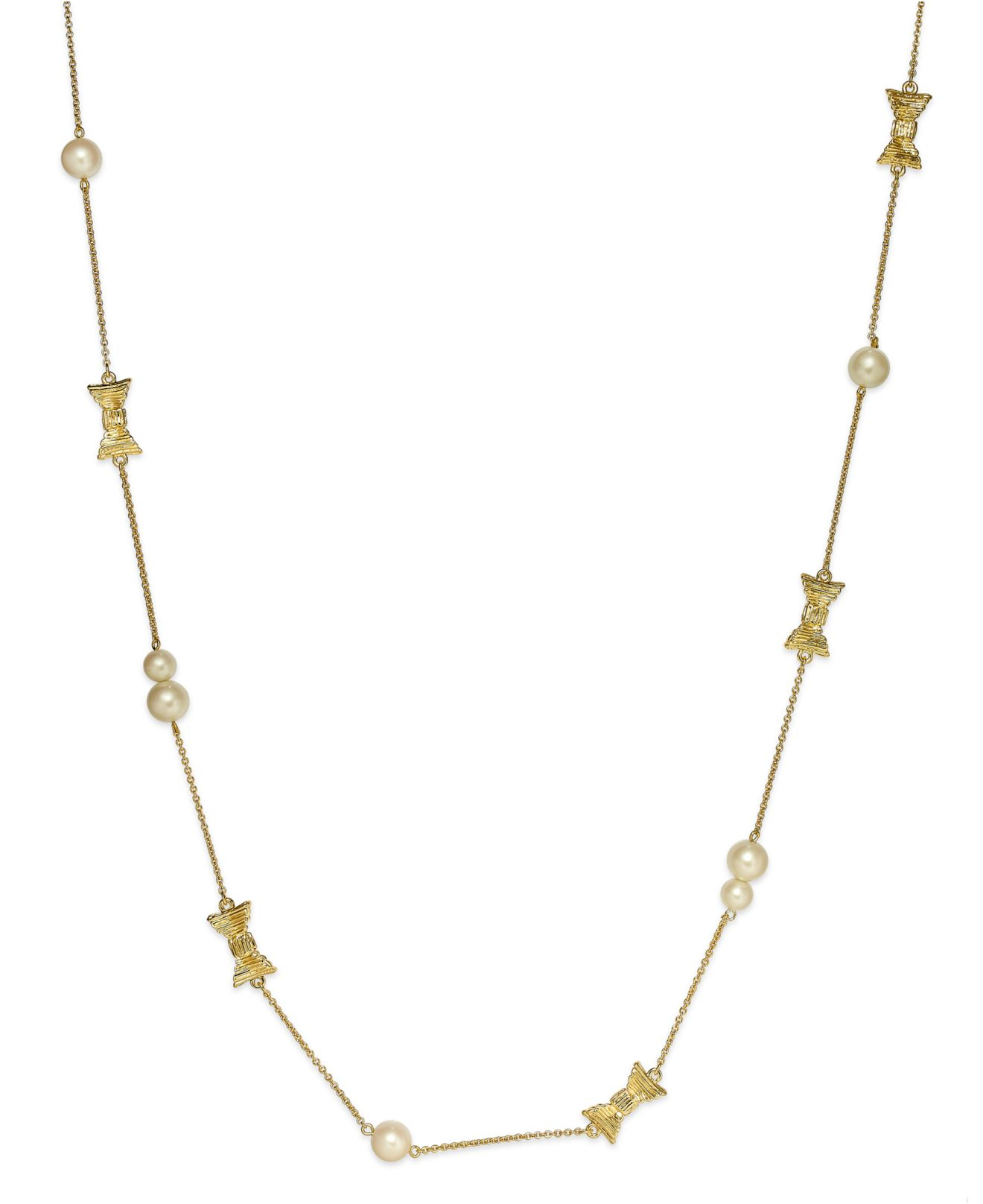 Kate Spade Pearl Bow Necklace: Kate Spade New York Gold-tone Bow And Imitation