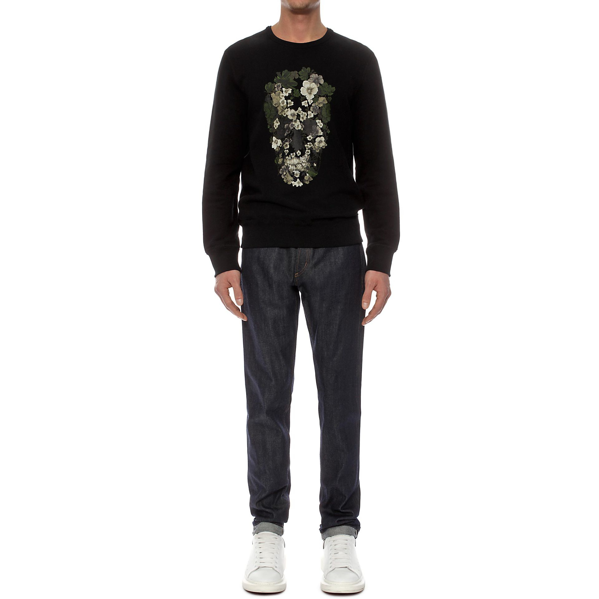 lyst alexander mcqueen flower skull print sweatshirt in black for men. Black Bedroom Furniture Sets. Home Design Ideas