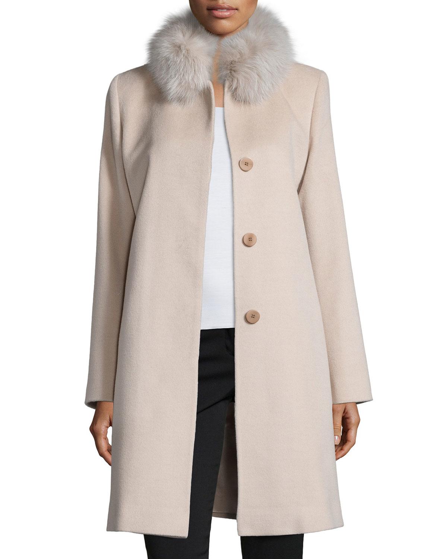 Lyst Fleurette Fur Collar Wool Coat In Pink