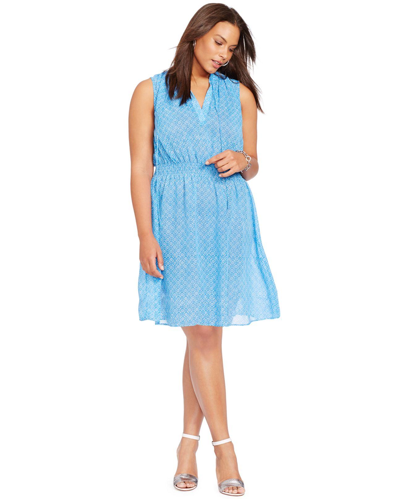 Lyst Lauren By Ralph Lauren Plus Size Printed Georgette Dress In Blue