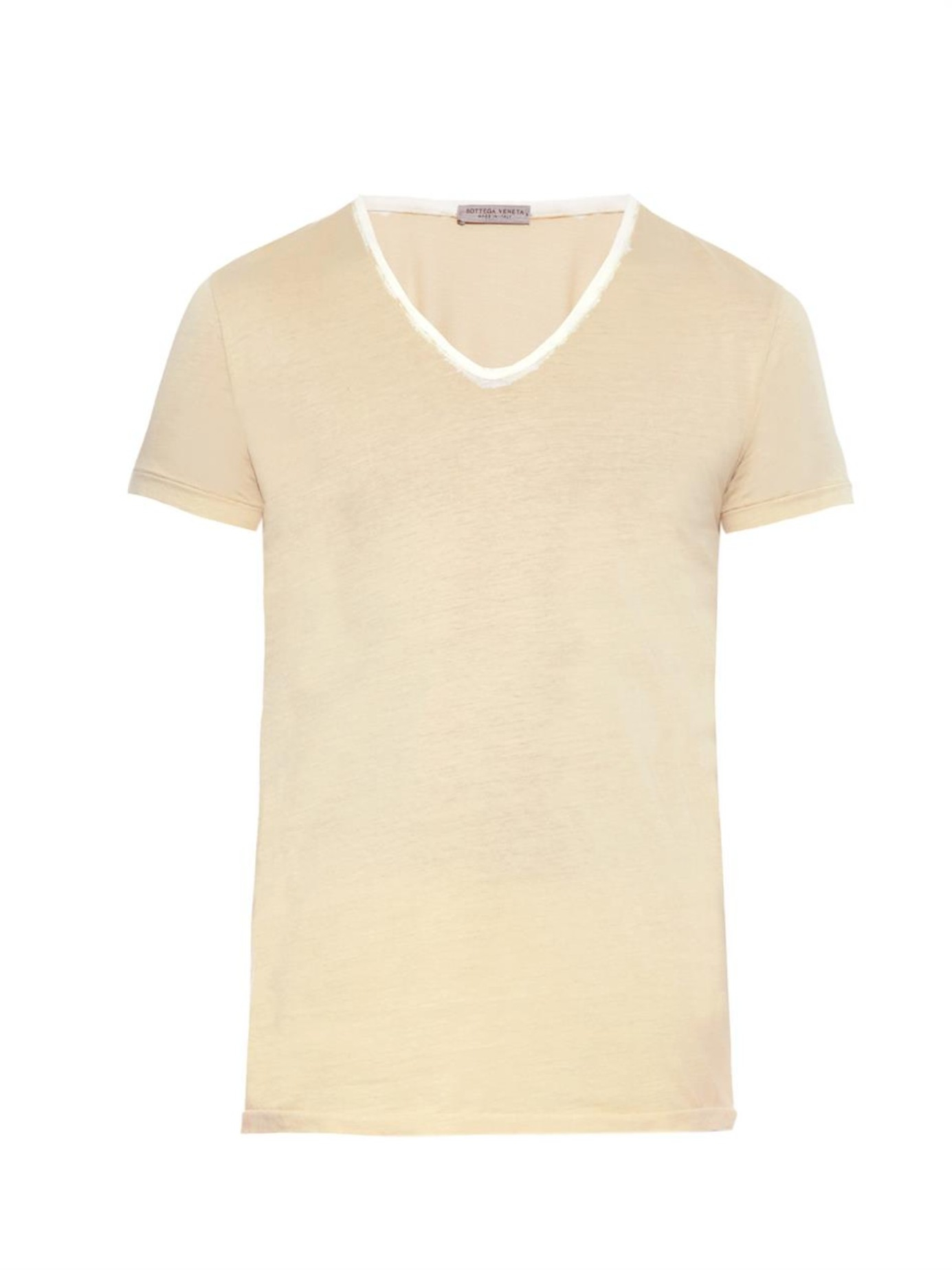 Bottega veneta dip dyed cotton jersey t shirt in yellow for Bottega veneta t shirt