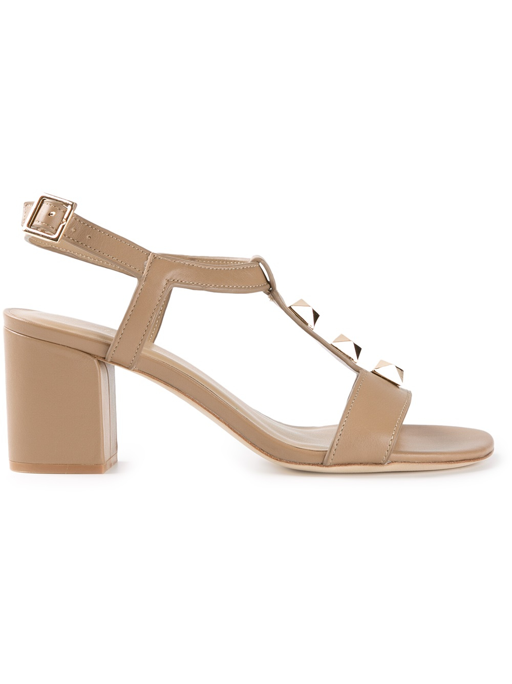Lola Cruz Studded Tbar Sandal In Beige Nude Amp Neutrals