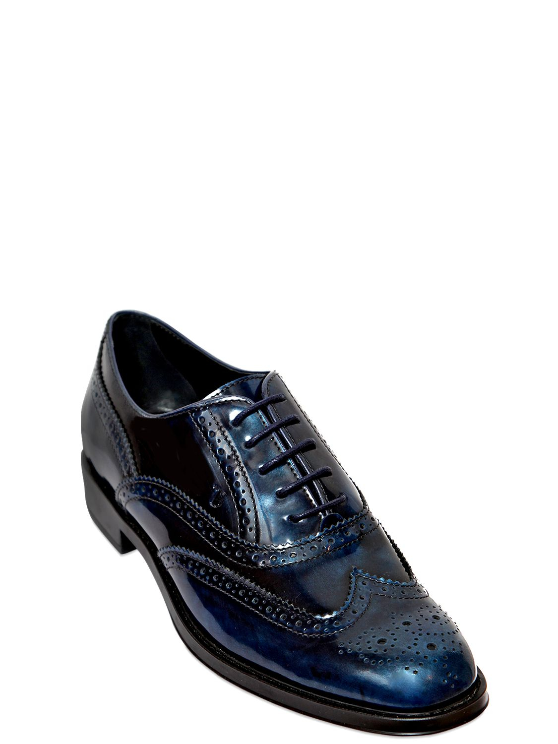 tod s 25mm brushed leather oxford shoes in blue for lyst