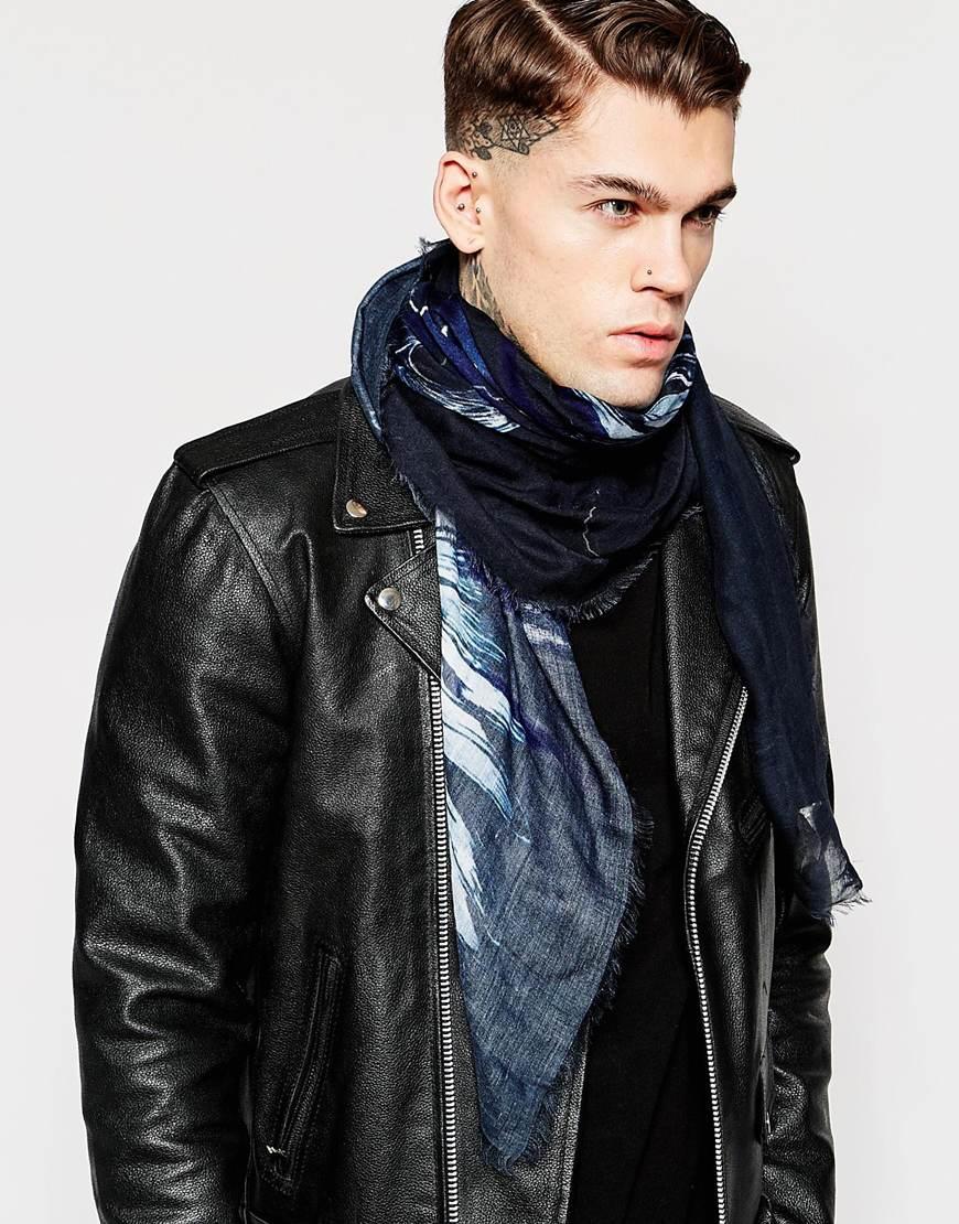 diesel sioca eagle scarf in blue for lyst