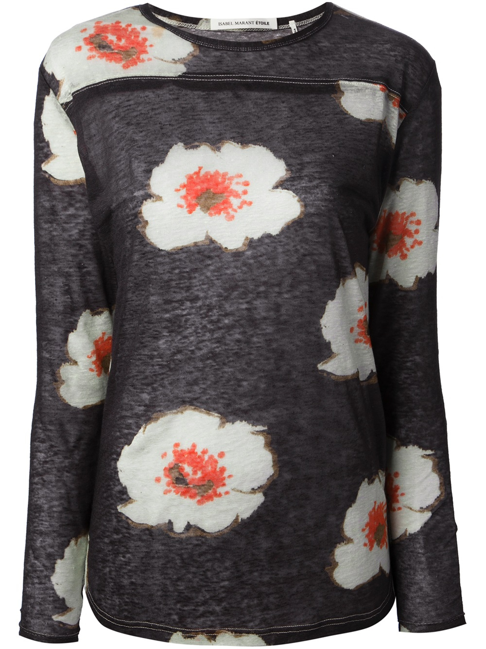 Toile Isabel Marant Jared Floral Print T Shirt In Black
