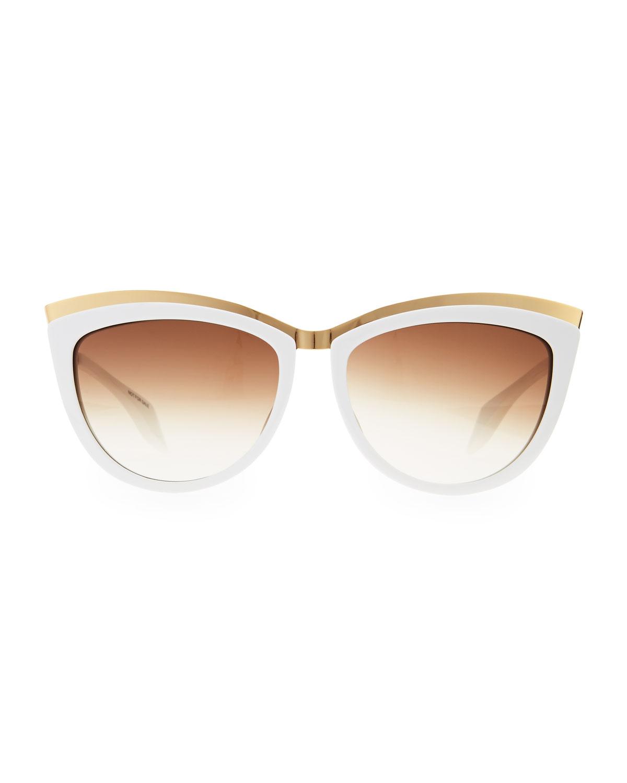 Alexander Mcqueen Cateye Sunglasses  alexander mcqueen colorblock cat eye sunglasses in white lyst