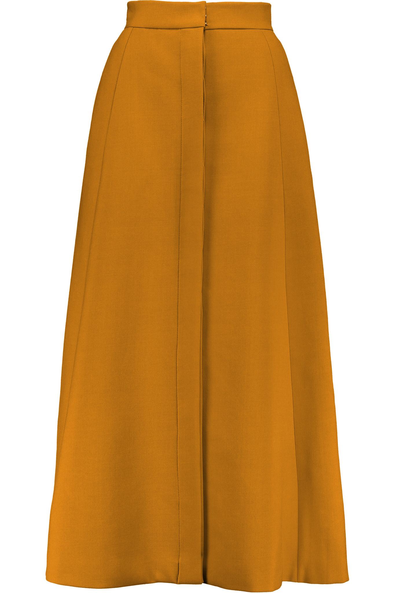 delpozo crepe twill midi skirt in brown lyst
