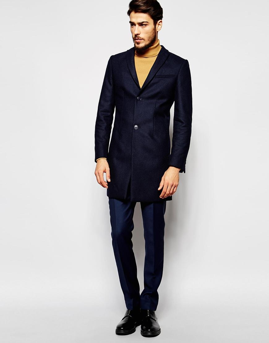 39886ecc475 Lyst - Noak Wool Overcoat In Super Skinny Fit in Blue for Men
