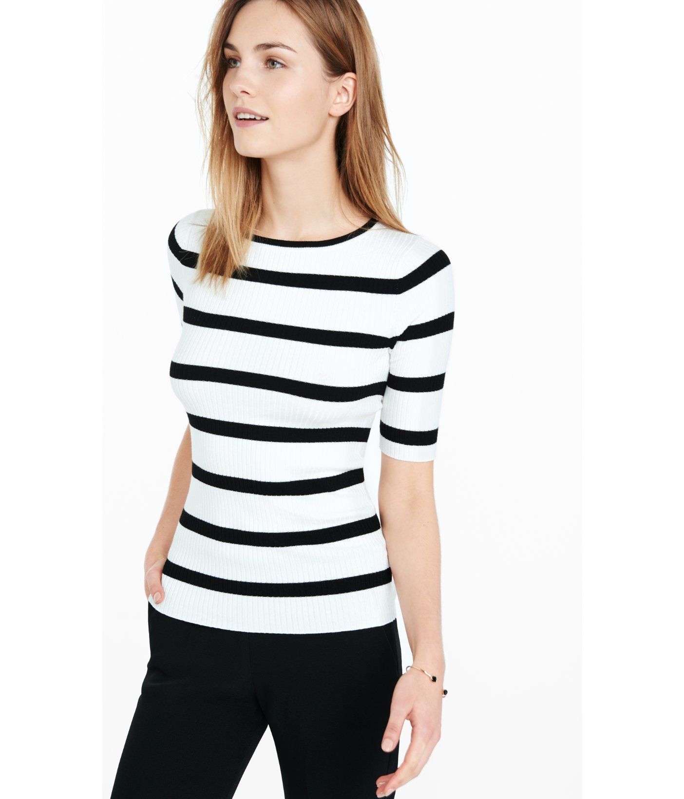 d8b9fb6fa69 Express Striped Ribbed Elbow Sleeve Sweater in Black - Lyst