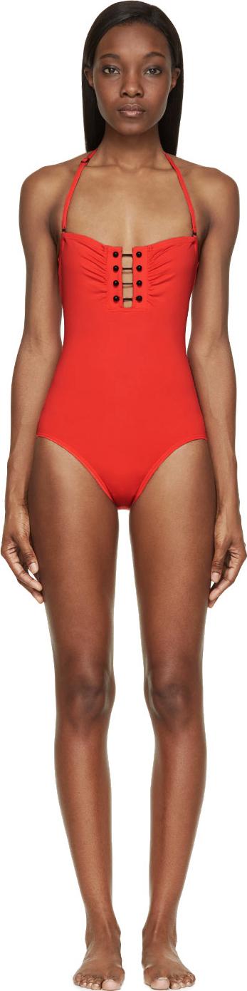dc317e40ed3 Lyst - Proenza Schouler Crimson Barbell Bandeau One_piece Swimsuit ...