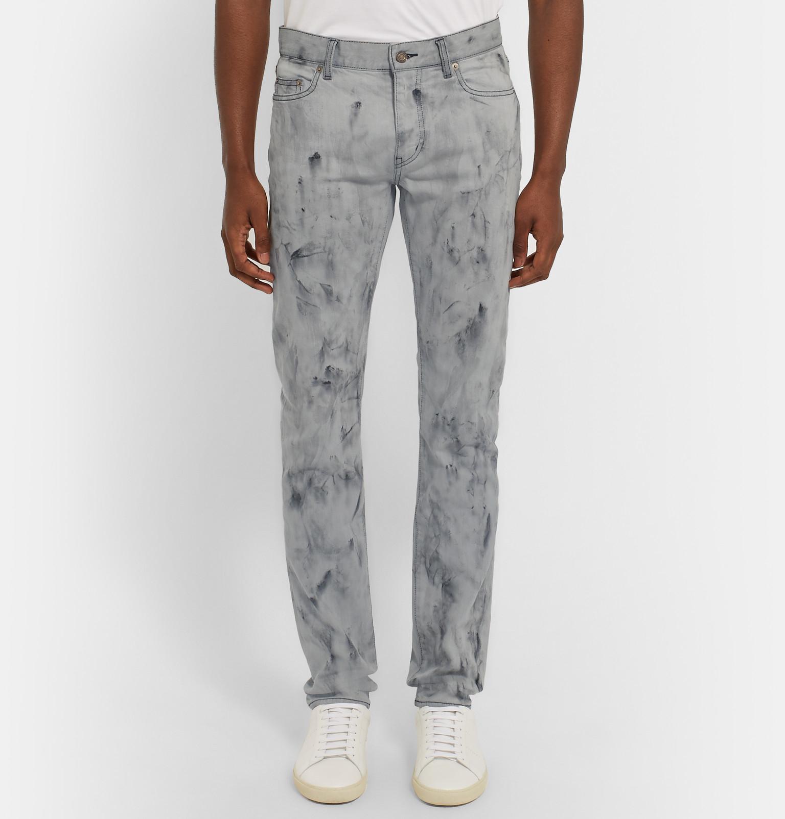 Saint Laurent Skinny Fit Marble Print Stretch Denim Jeans