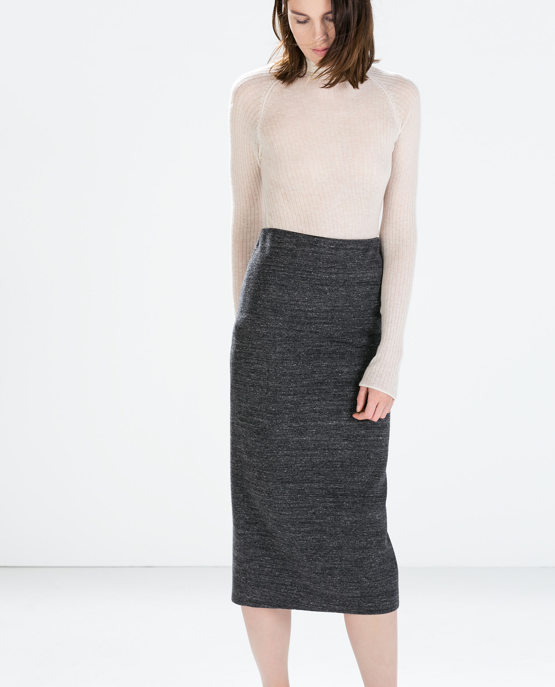 Zara Knit Midi Pencil Skirt in Gray | Lyst