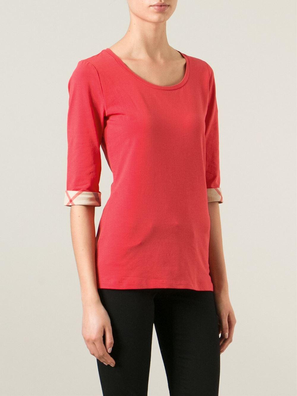 Burberry brit three quarter length sleeve t shirt in pink for Three quarter length shirt