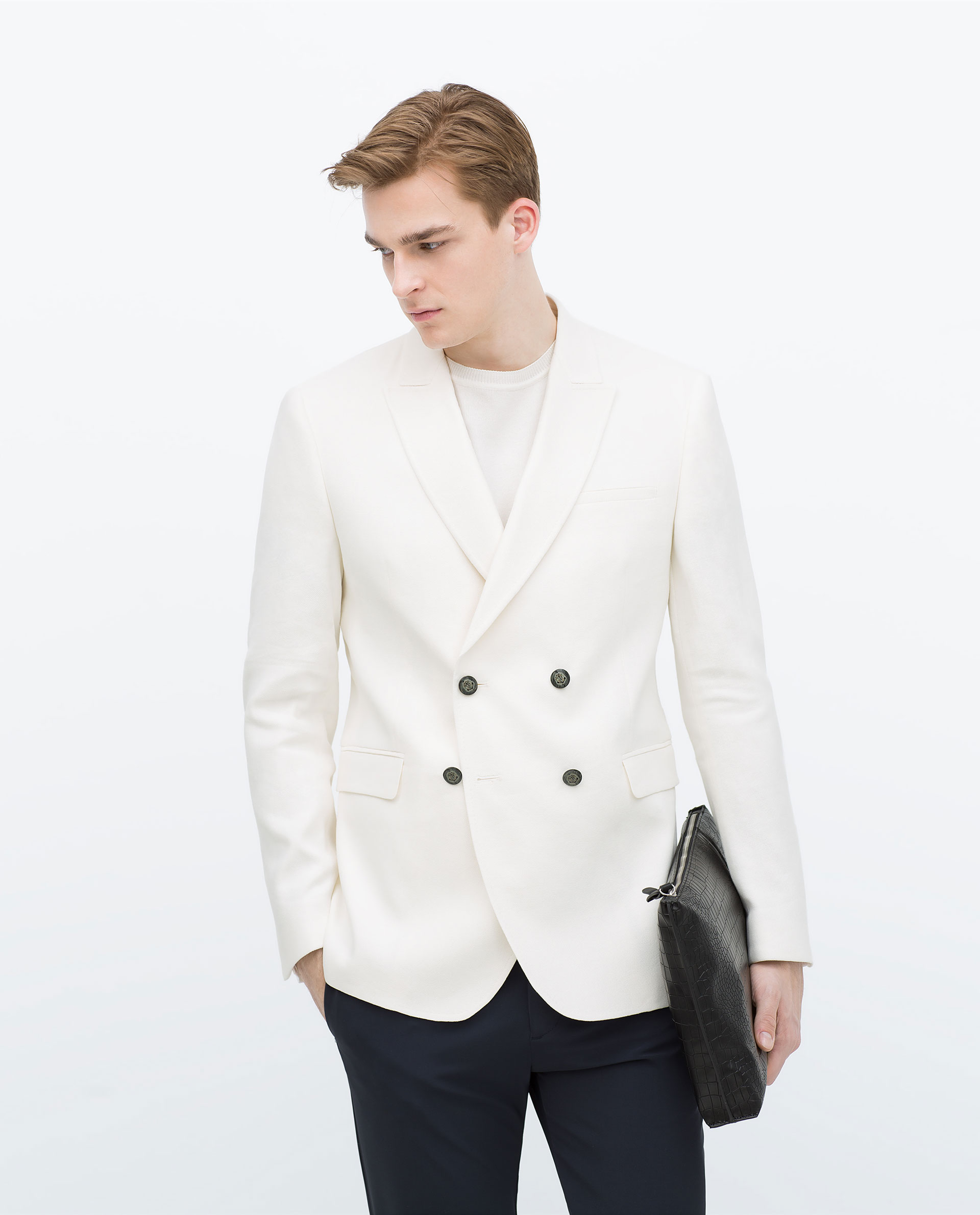 Zara White Double-Breasted Jacket White Double-Breasted Jacket in ...
