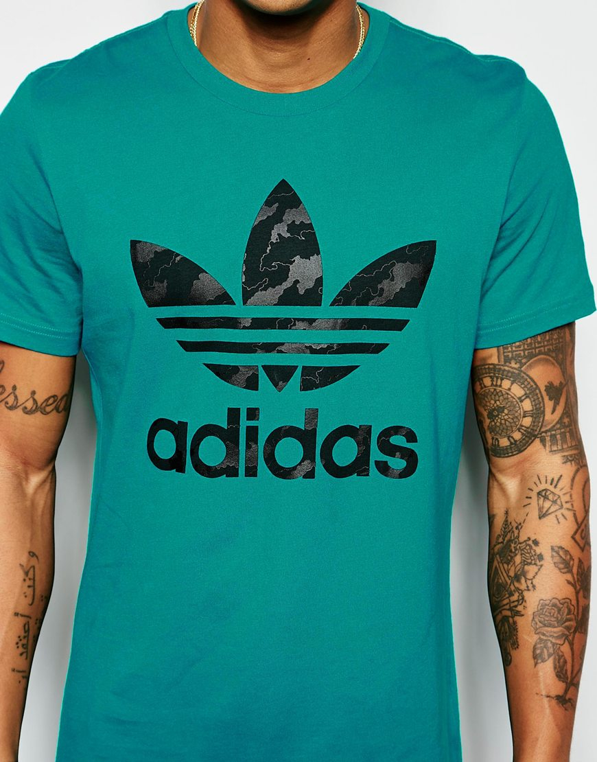 adidas originals t shirt with trefoil logo aj6910 green. Black Bedroom Furniture Sets. Home Design Ideas