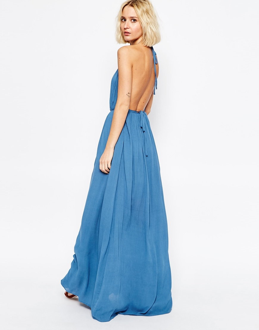 31e29dc62f Paisie Volume Maxi Dress With Halterneck And Low Back in Blue - Lyst