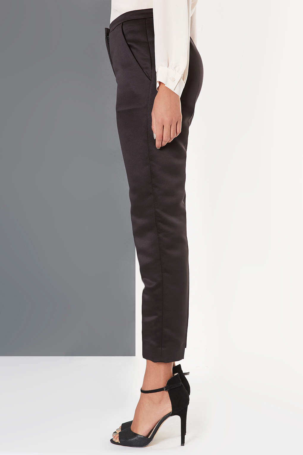 Black Satin Trousers River Island