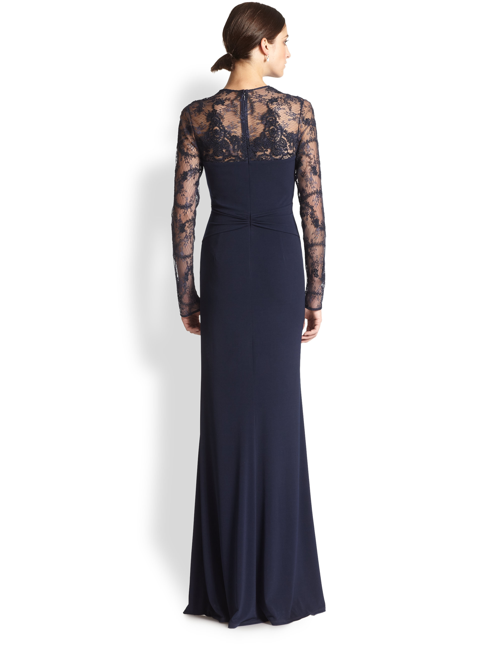 Lyst David Meister Lace Insert Gown In Blue