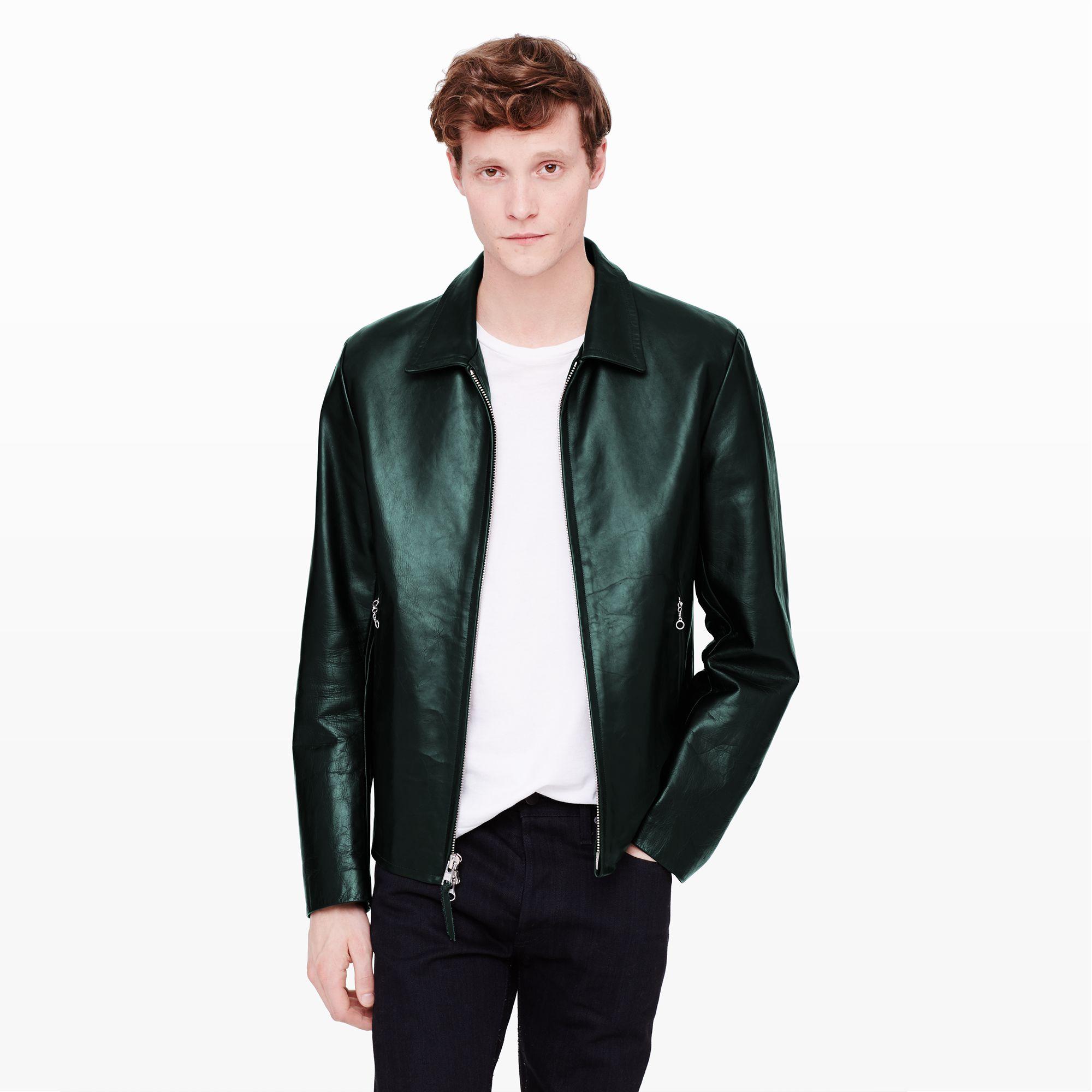 Club monaco Golden Bear Leather Jacket in Green for Men | Lyst