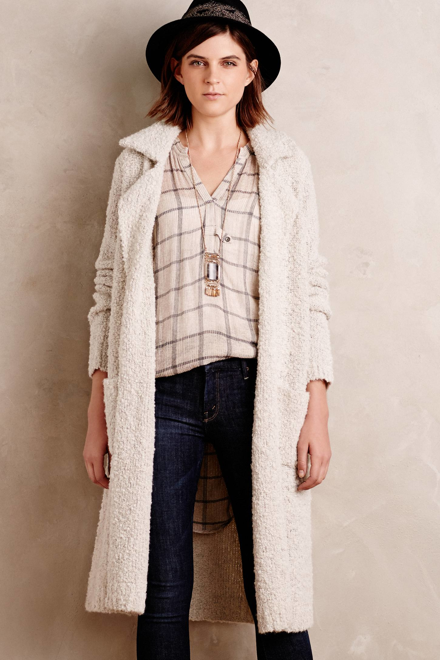 Moth Boucle Sweater Coat in White | Lyst