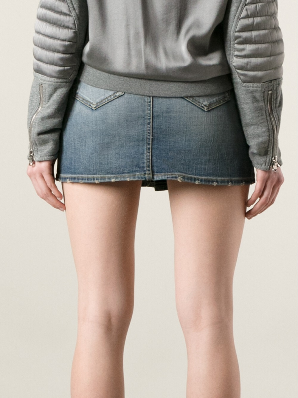 Saint laurent Short Denim Skirt in Blue | Lyst