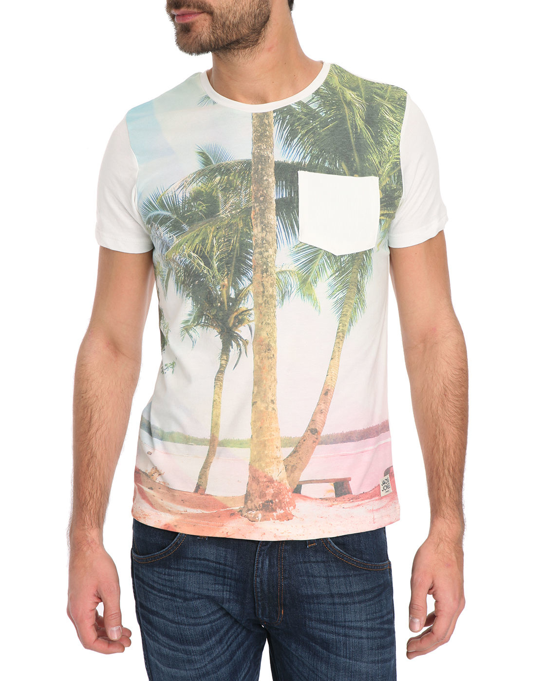 jack jones hawa sun printed t shirt in multicolor for. Black Bedroom Furniture Sets. Home Design Ideas