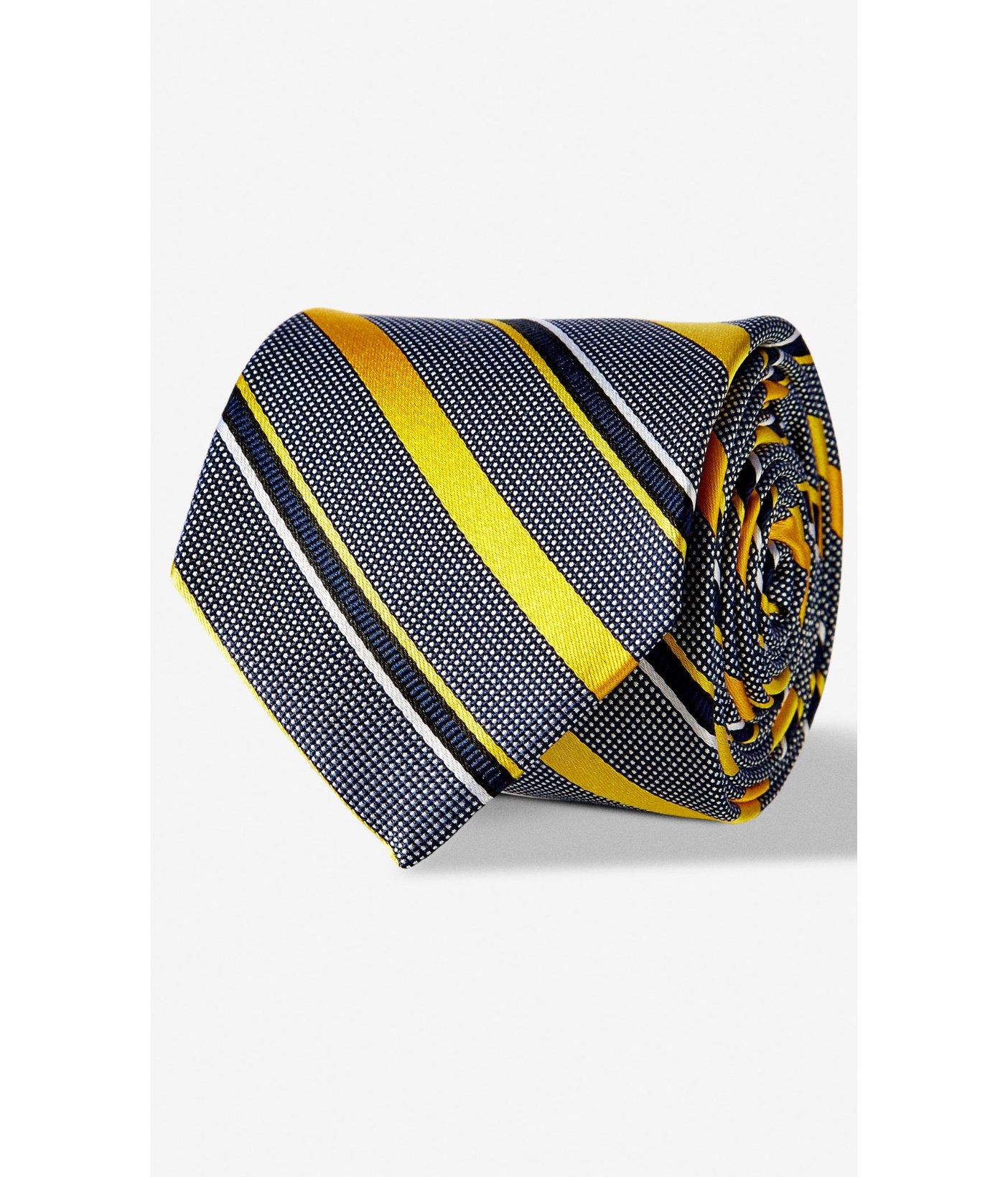 express diagonal stripe narrow silk tie in yellow for