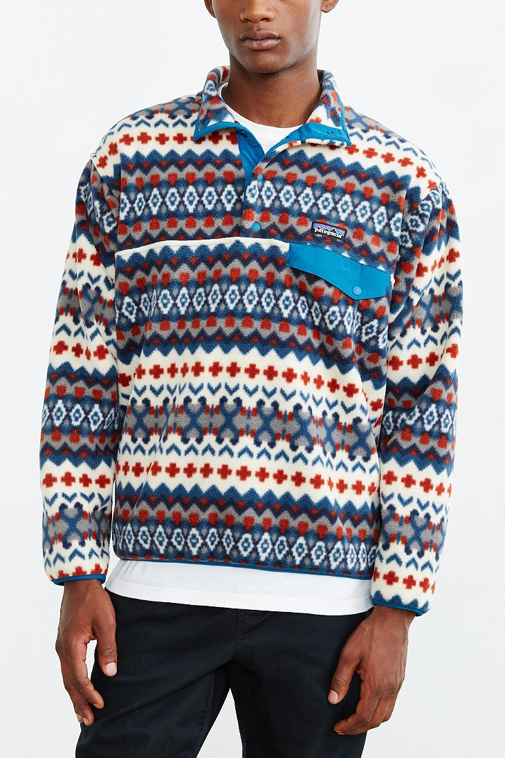 Patagonia Synchilla Snap T Fleece Pullover Jacket In Blue