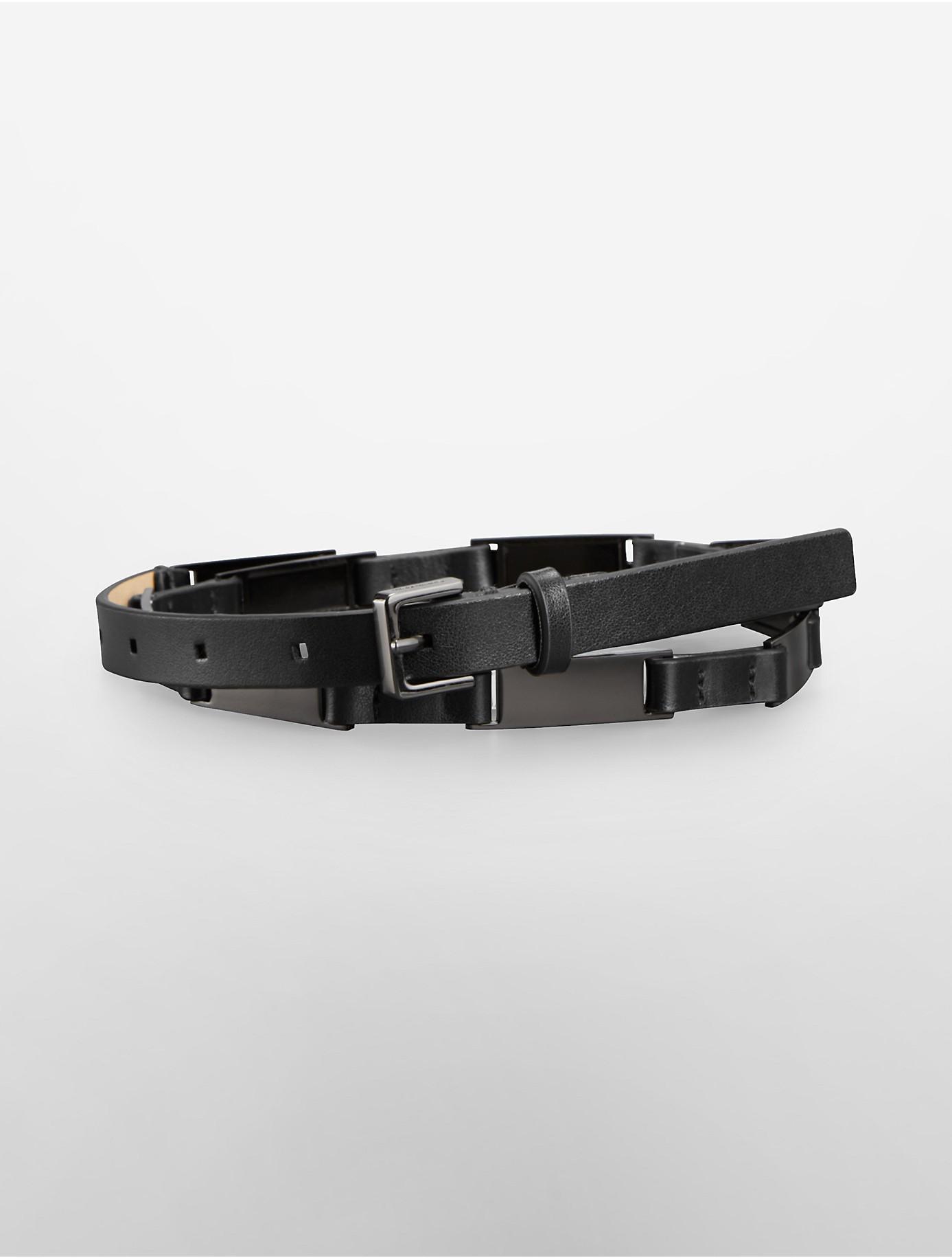 calvin klein thin leather link belt in black lyst