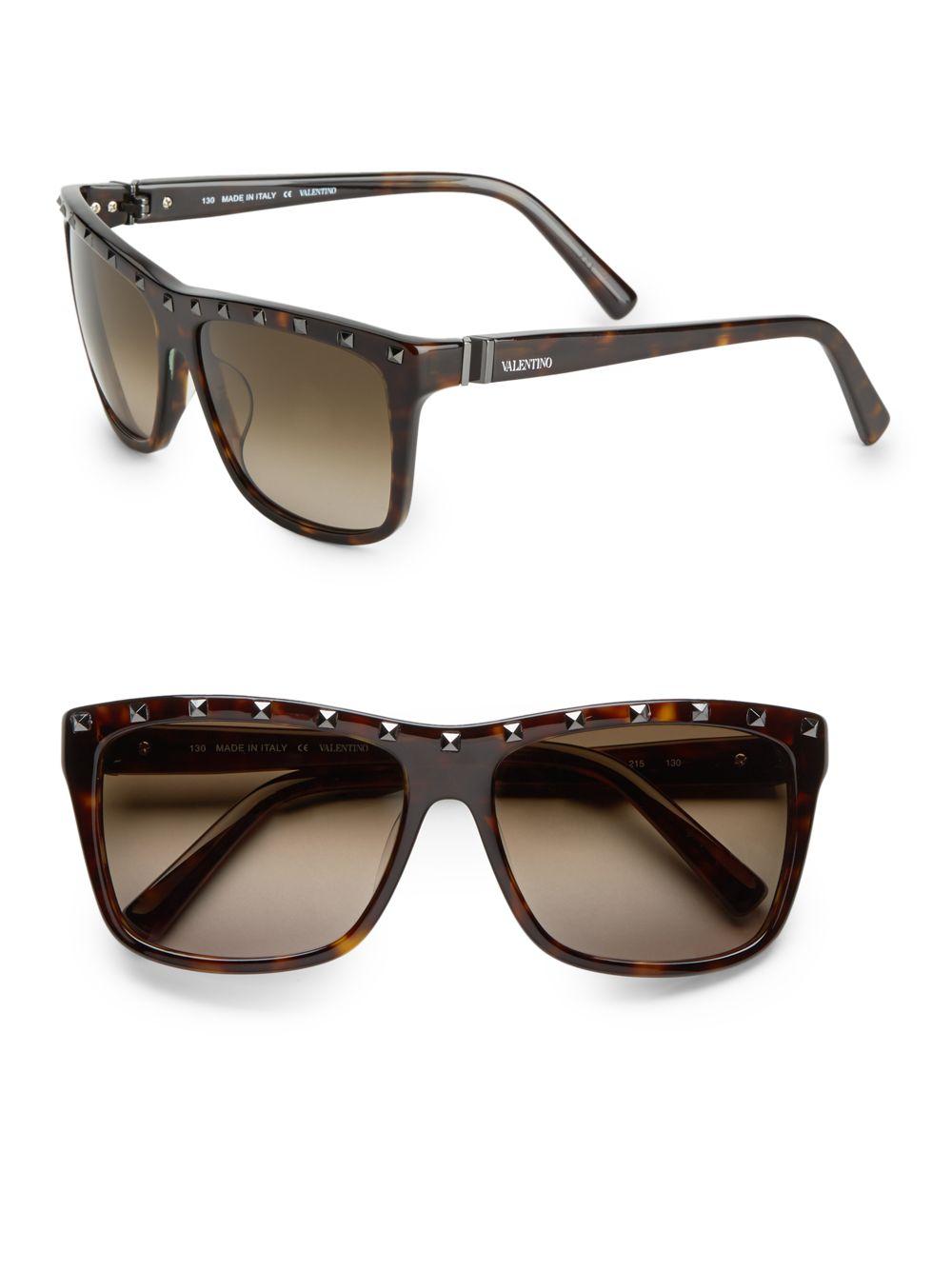 valentino 56mm square wayfarer sunglasses in brown lyst