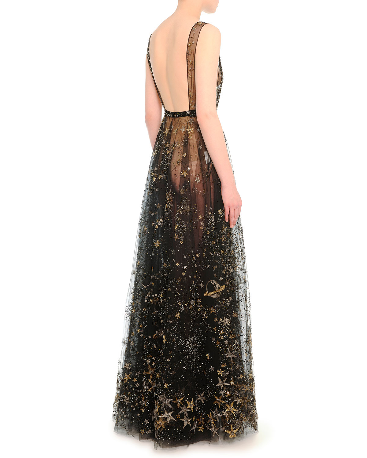 Lyst - Valentino Star And Moon Embroidered Evening Dress in Black