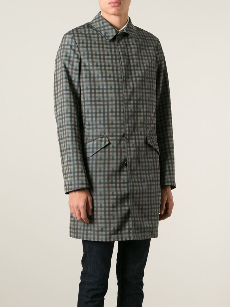 7e9661a257952a Coat Coat Etro Trench Trench Lyst Men for and Lambskin Plaid Silk rrOCX