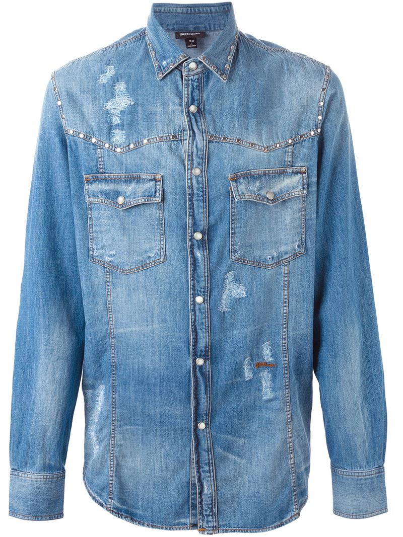 Lyst just cavalli distressed denim shirt in blue for men for How to make a distressed shirt