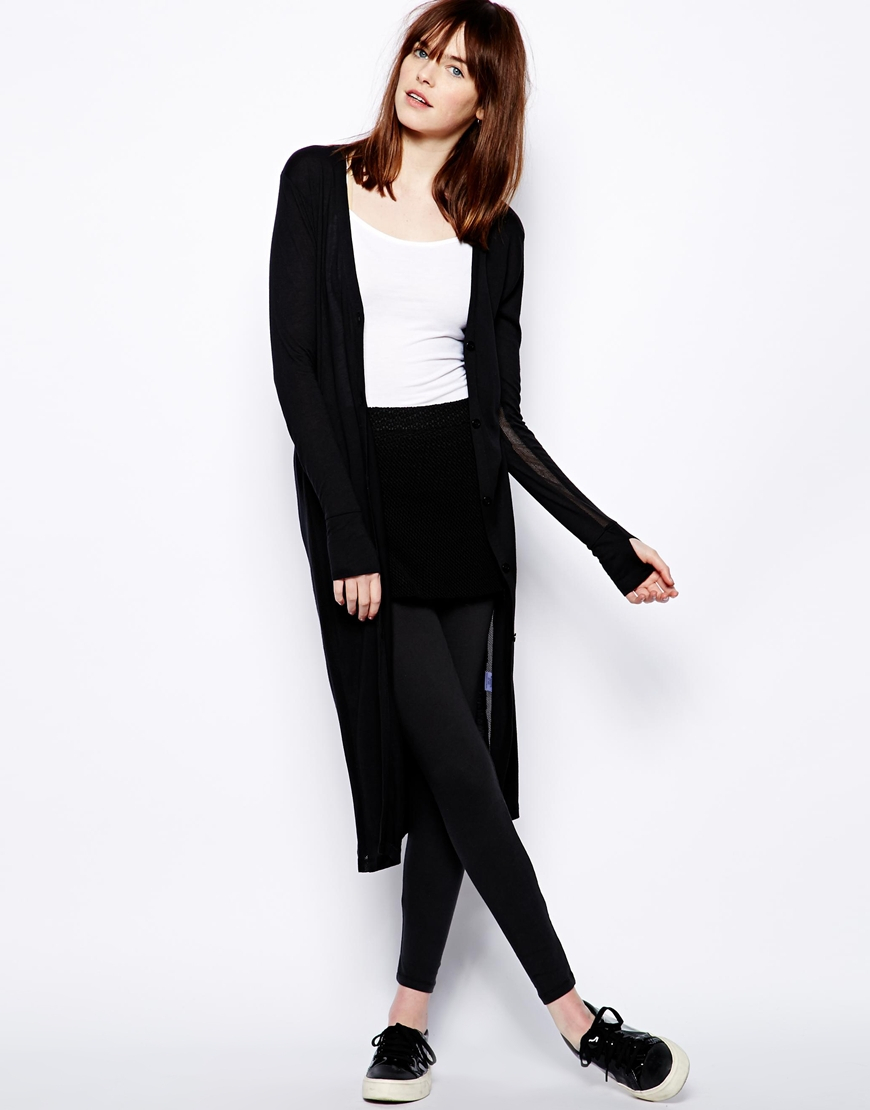 Earth couture Maxi Cardigan in Black | Lyst