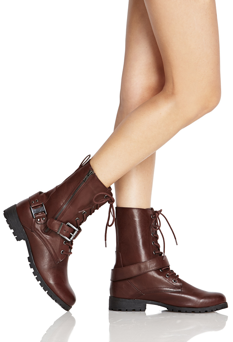 396cf35cbc Forever 21 Lace-up Buckled Combat Boots in Brown - Lyst