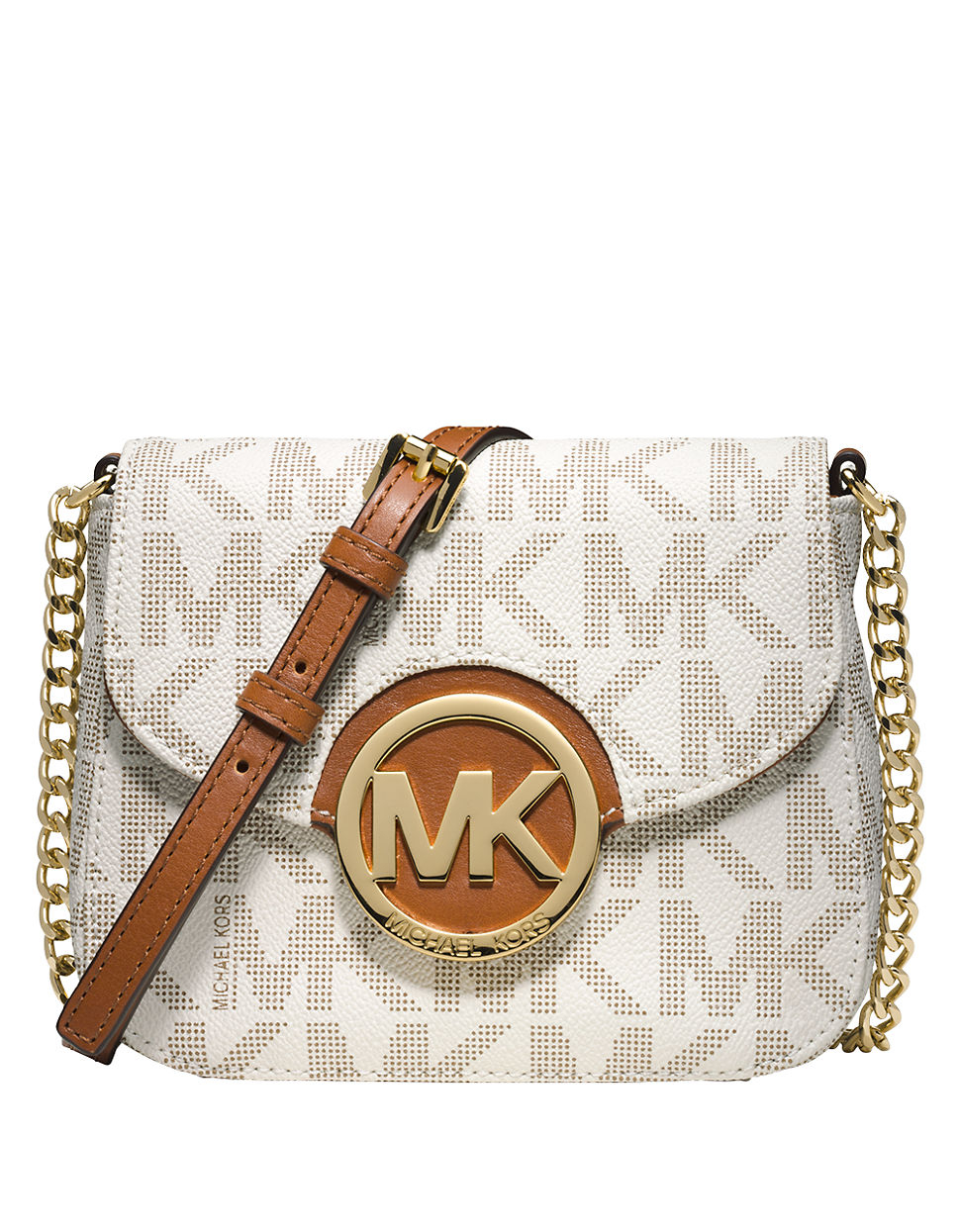 michael michael kors fulton logo small crossbody in natural lyst. Black Bedroom Furniture Sets. Home Design Ideas