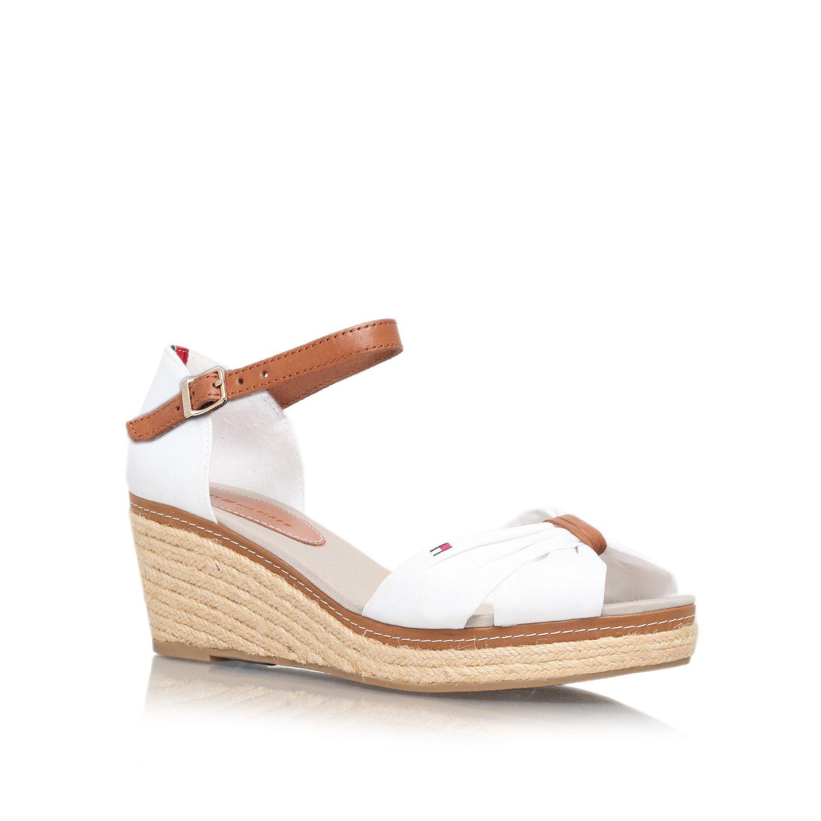 tommy hilfiger elba 19d mid wedge heel sandals in white lyst. Black Bedroom Furniture Sets. Home Design Ideas