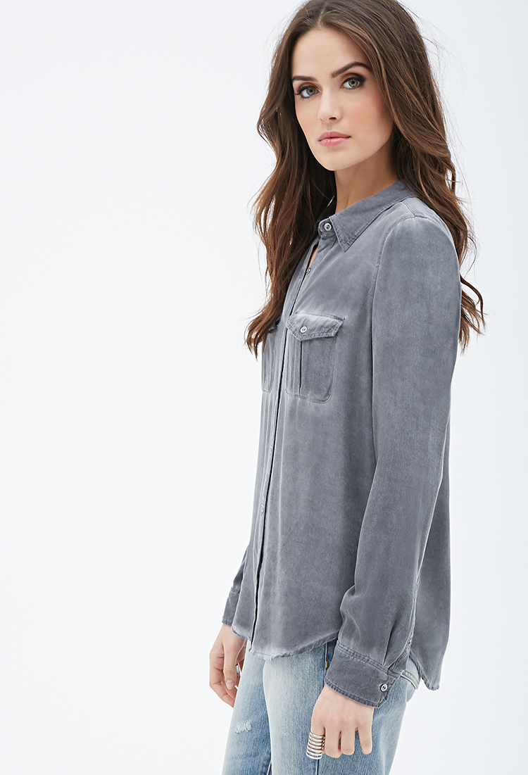 Lyst forever 21 contemporary faded button down shirt in gray for Grey button down shirt