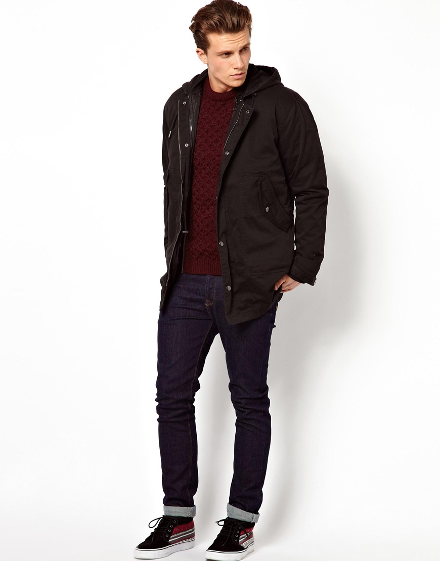 Asos 2 in 1 Fishtail Parka in Black for Men | Lyst