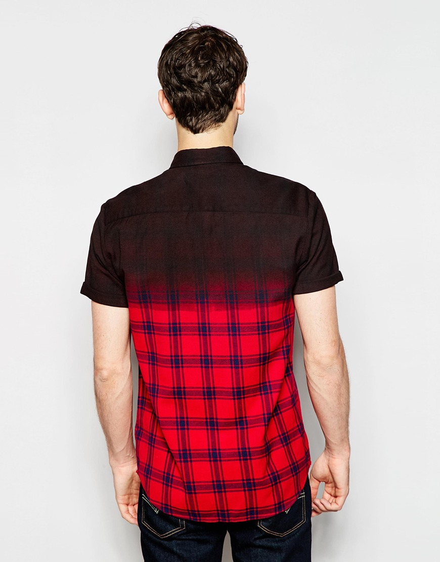 Lyst asos check shirt in short sleeve with dip dye in for Mens dip dye shirt