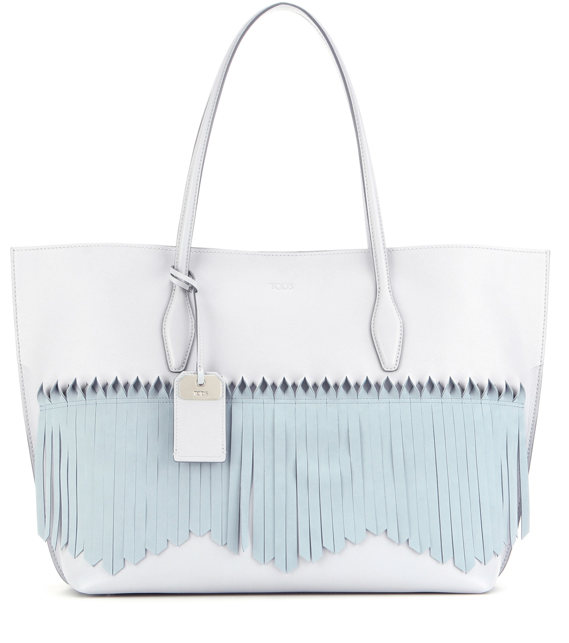 df95481372 Tod's Joy Large Fringed Leather And Suede Shopper in Blue - Lyst