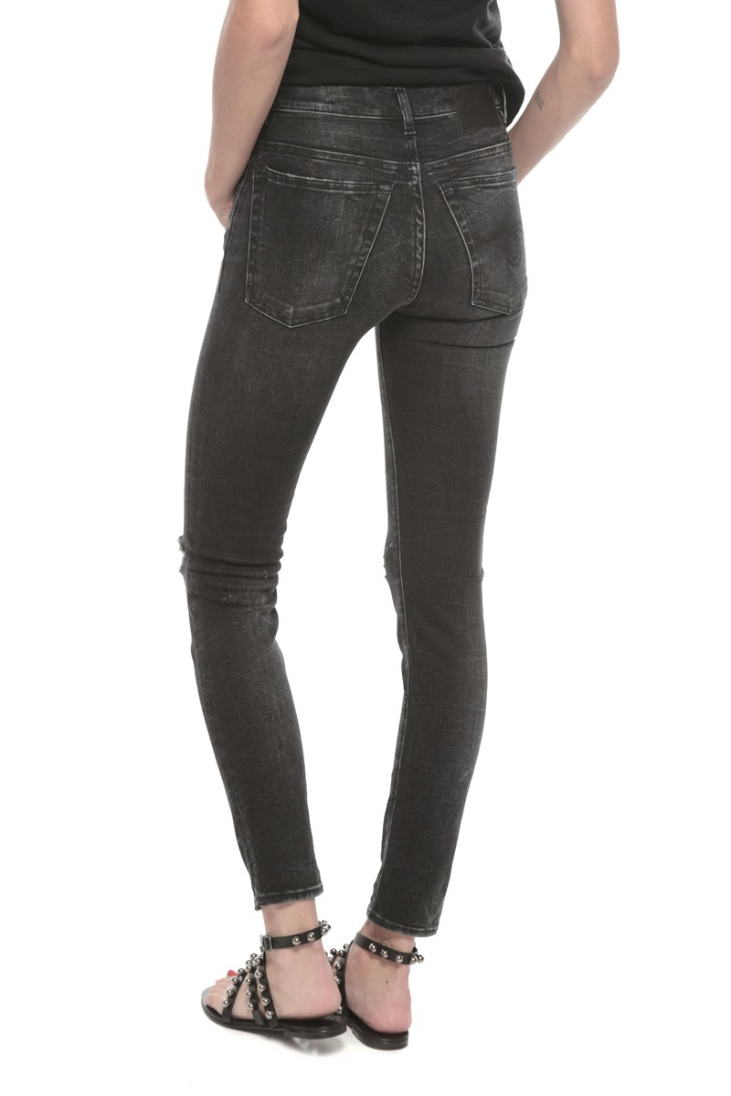 94cf1f9009f R13 High Rise Distressed Skinny Jean in Black