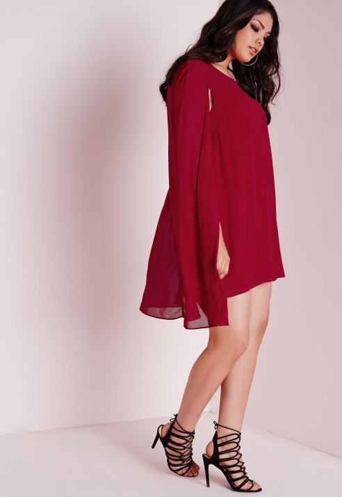 30d1f3f00f1 Lyst - Missguided Plus Size Cape Dress Red in Red
