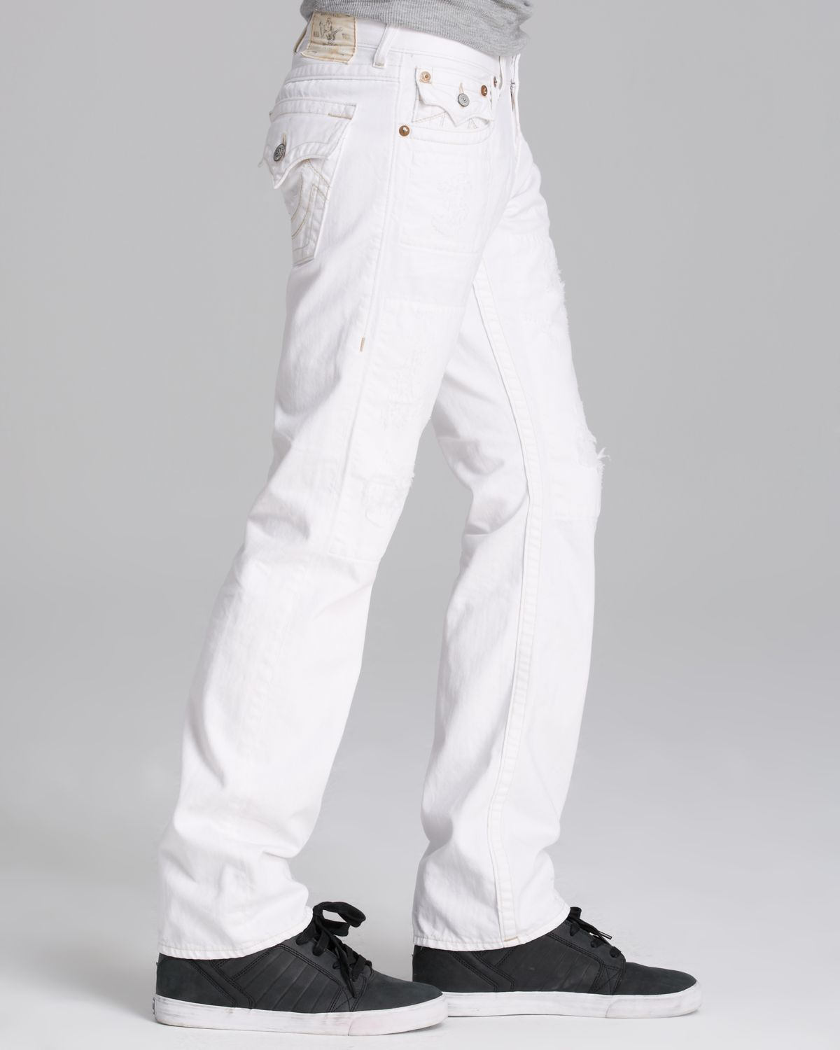 Lyst - True religion Jeans Ricky Straight Fit in Ivory ...